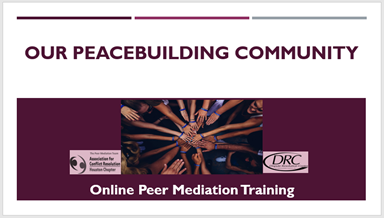 Our Peacebuilding Community Peer Mediation Training logo June 2020.png